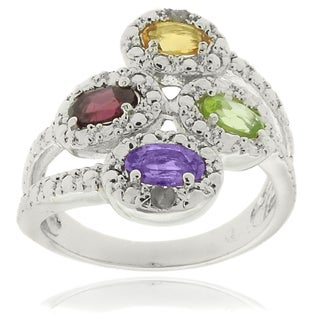Dolce Giavonna Sterling Silver Multi-gemstone and Diamond Accent Ring