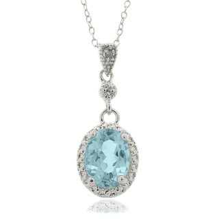 Dolce Giavonna Sterling Silver Blue Topaz and Diamond Accent Oval Necklace