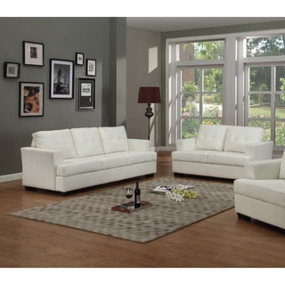 Nova White Bonded Leather Sofa and Loveseat Set