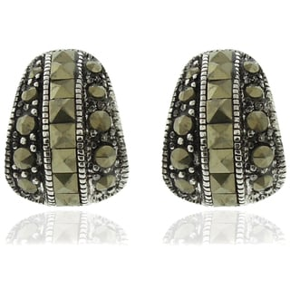 Dolce Giavonna Silverplated Marcasite Stud Earrings