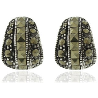 Dolce Giavonna Silver Overlay Marcasite Stud Earrings