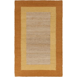 Hand-woven Sunflower Yellow Border Natural Fiber Jute Rug (8' x 11')