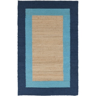 Hand-woven Navy Double Border Natural Fiber Jute Rug (3'6 x 5'6)