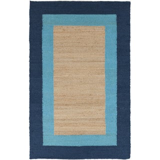 Hand-woven Navy Border Natural Fiber Jute Rug (5' x 8')