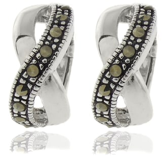 Dolce Giavonna Silver Overlay Marcasite Infinity Design Hoop Earrings