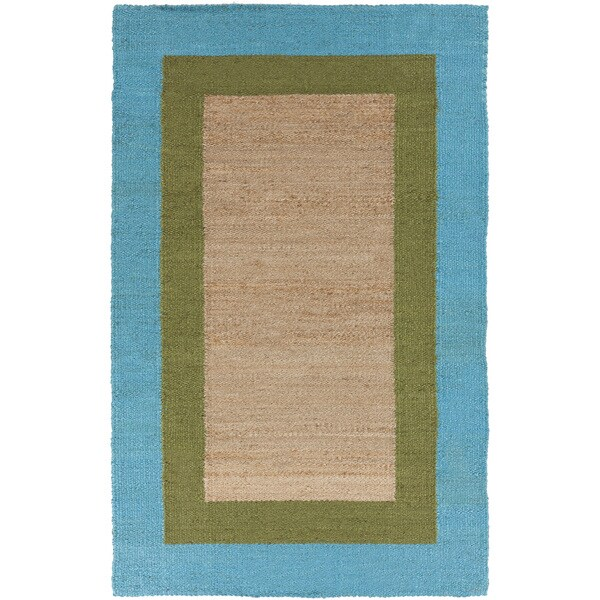 Hand-woven Bright Blue Border Natural Fiber Jute Rug (2' x 3')