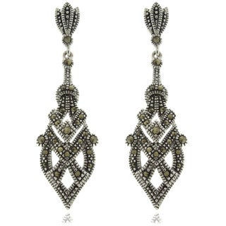 Dolce Giavonna Silver Overlay Marcasite Art Deco Dangle Earrings