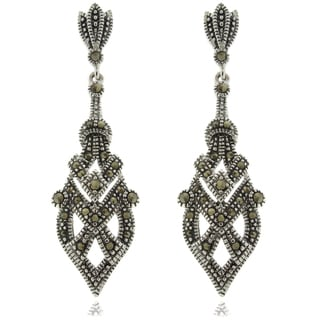 Gem Jolie Silver Overlay Marcasite Art Deco Dangle Earrings
