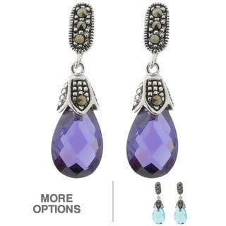 Dolce Giavonna Silver Overlay Cubic Zirconia and Marcasite Teardrop Earrings
