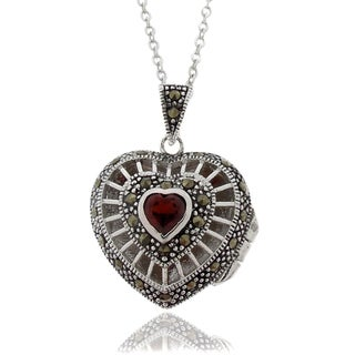 Dolce Giavonna Silver Overlay Garnet and Marcasite Heart Locket Necklace