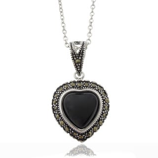 Dolce Giavonna Silverplated Black Onyx and Marcasite Heart Necklace