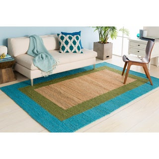 Hand-woven Light Blue and Moss Green Bordered Natural Fiber Jute Rug (5' x 8')