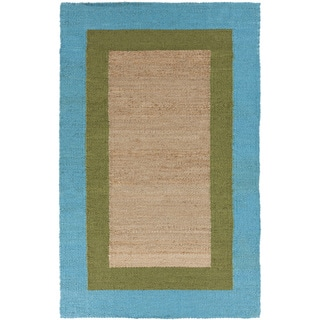 Hand-woven Light Blue and Moss Green Bordered Natural Fiber Jute Rug (8' x 11')