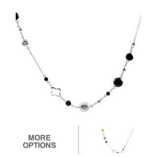 La Preciosa Sterling Silver Onyx or Gemstone/ Pearl 36-inch Necklace