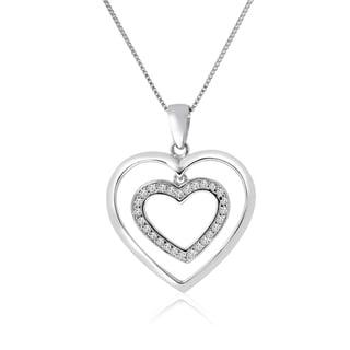 10k White Gold 1/6ct TDW Diamond Double Heart Necklace (H-I, I1-I2)