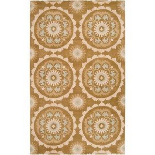 Hand-tufted Beige Mosaic Medallion New Zealand Wool Rug (9' x 13')