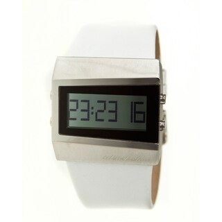 Black Dice Men's Chill Light Goldtone/ White Leather Digital Watch