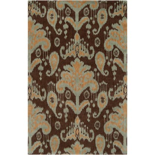 Hand-tufted Cocoa and Gold Ikat New Zealand Wool Rug (9' x 13')
