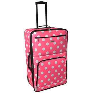 Rockland 28-inch Pink Dot Large Expandable Rolling Upright Suitcase