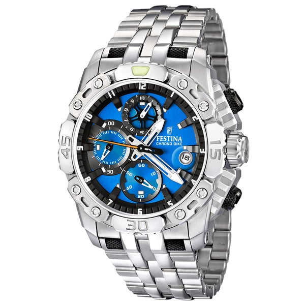Festina Men's Blue/ Silvertone Steel Quartz Watch