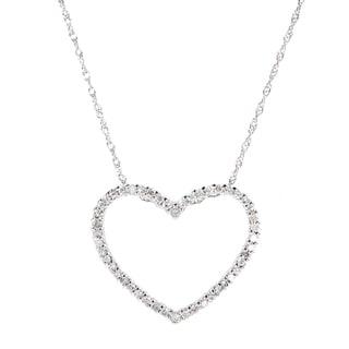 10k White Gold 1/4ct TDW Diamond Heart Necklace (H-I, I1-I2)