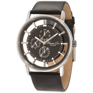Kenneth Cole Men's Brown-Dial Black-Calf-Skin Quartz Watch