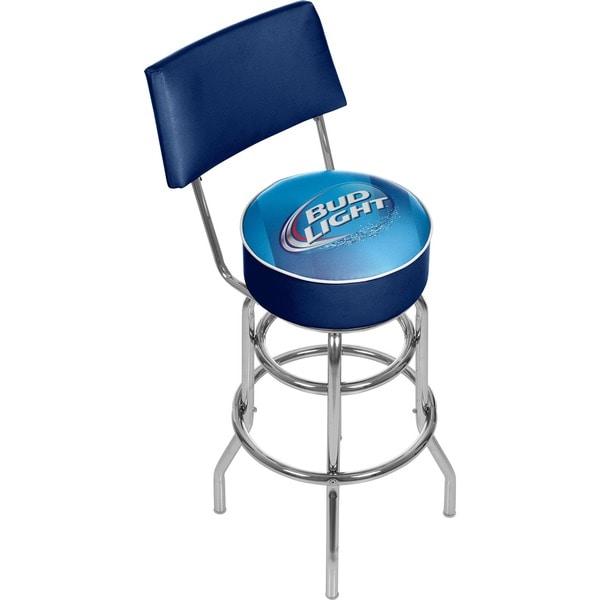bud light blue padded bar stool with back 15118155. Black Bedroom Furniture Sets. Home Design Ideas