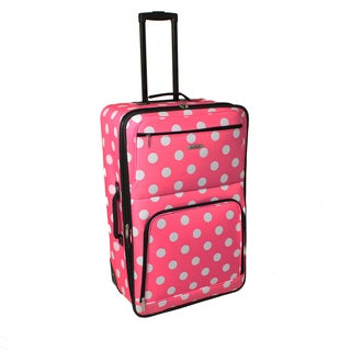 Rockland Pink Dot 24-inch Expandable Rolling Upright Luggage