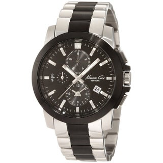 Kenneth Cole Men's Dress Sport Two-tone Black/ Silver Steel Quartz Watch