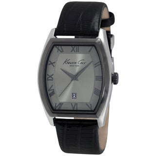 Kenneth Cole Men's Grey Dial and Black Calf Skin Strap Quartz Watch