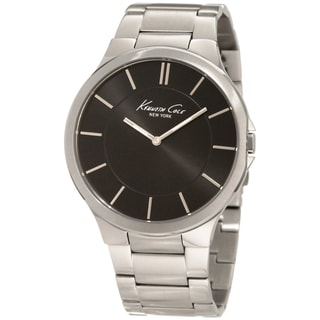 Kenneth Cole Men's 'Slim' Black/ Silver Steel Quartz Watch