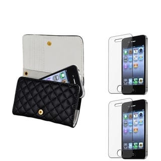 BasAcc Leather Wallet Case/ Screen Protector for Apple iPhone 4/ 4S