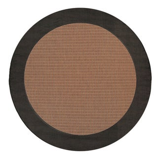 Recife Black/ Cocoa Checkered Field Rug (7'6 Round)