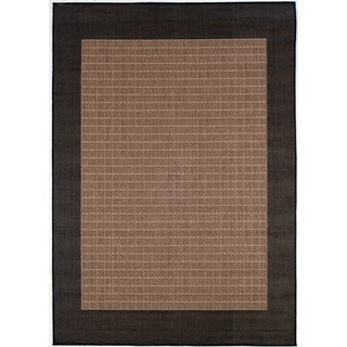 Recife Checkered Field Cocoa/ Black Rug (2' x 3'7')