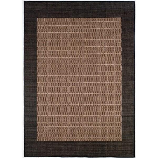 Recife Checkered Field Cocoa/ Black Rug (2' x 3'7')