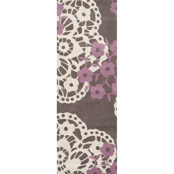 Hand-tufted Pink Lace Wenge Geometric Wool Rug (2'6 x 8')