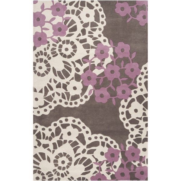 Hand-tufted Pink Lace Wenge Geometric Wool Rug (3'3 x 5'3)