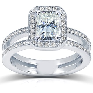 14k White Gold Radiant-cut Moissanite and 1/3ct TDW Diamond Engagement Ring (G-H, I1-I2)