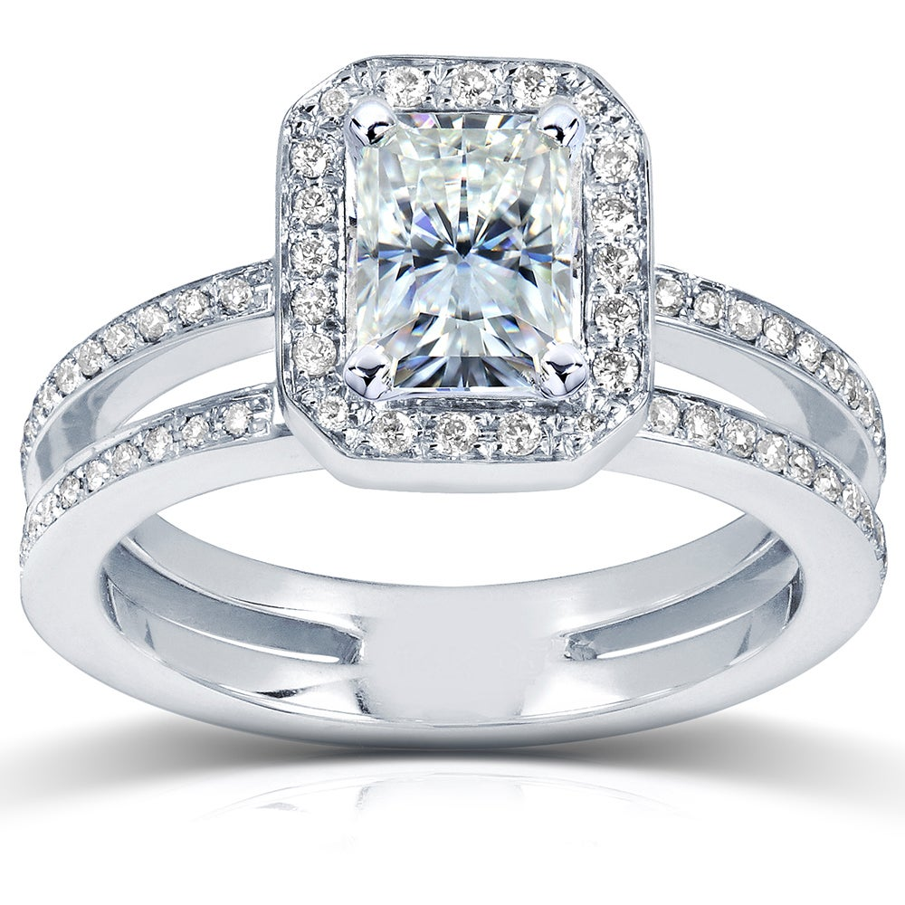 14k Gold Moissanite and 1/3ct TDW Diamond Engagement Ring (G-H, I1-I2) at Sears.com