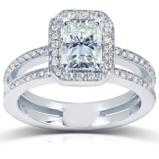 Annello 14k White Gold Radiant-cut Moissanite and 1/3ct TDW Diamond Engagement Ring (G-H, I1-I2)