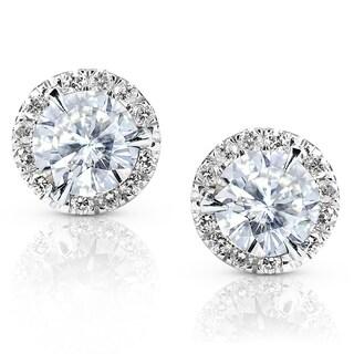 Annello 14k White Gold Moissanite and 1/4ct TDW Round-cut Diamond Stud Earrings (G-H, I1-I2)