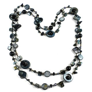 Handmade Grey Mother of Pearl Shell Bead Long Necklace (China)