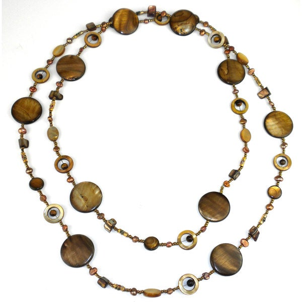 Handmade Gold Mother of Pearl Shell Bead Long Necklace (China)