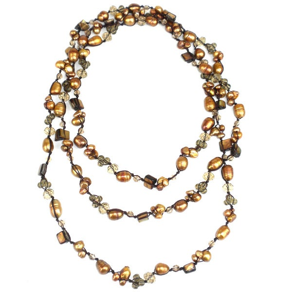 Hand-knotted Gold Freshwater Pearl Necklace (China)