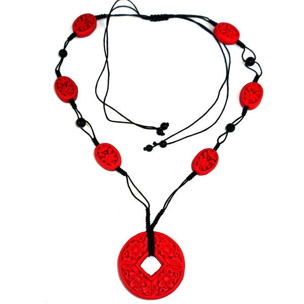 Handcarved Red Wood Beads on Black Cord Necklace (China)