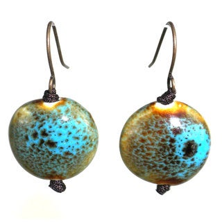 Handmade Ceramic Peacock Bead Earrings (China)