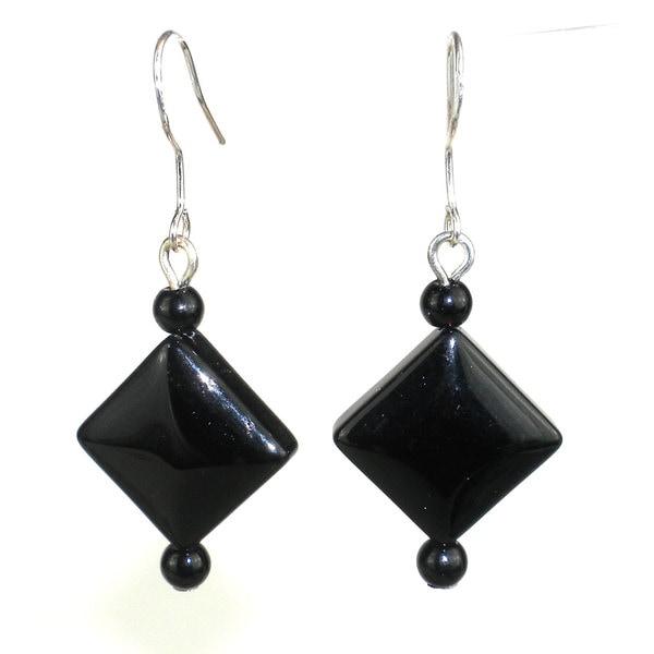 Handmade Diamond-Shaped Onyx Earrings (China)