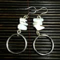 Handmande Mother of Pearl and Silver Hoop Earrings (China)