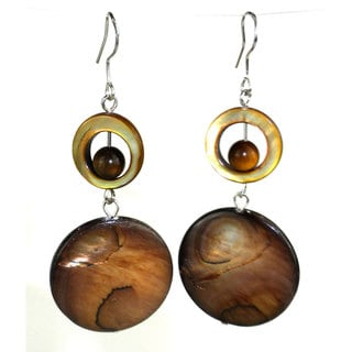 Handmade Gold Mother of Pearl Shell Earrings (China)