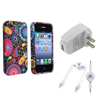 BasAcc TPU Case/ Audio Cable/ Travel Charger for Apple iPhone 4/ 4S